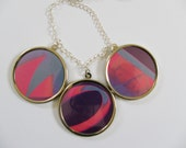 One of a kind collage necklace-pink & purple