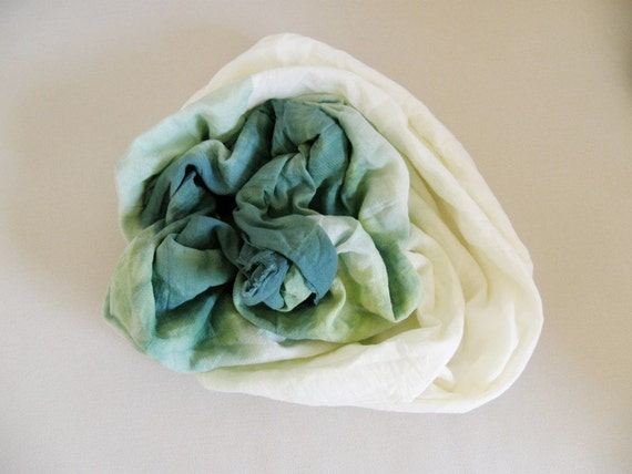 hand painted scarf rich green