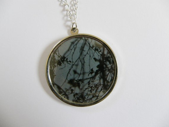 One of a kind collage necklace-shadows