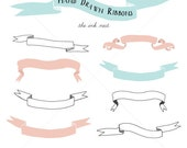 CLIP ART - Hand Drawn Ribbons - for commercial and personal use