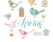 CLIP ART  - Spring Birds - for commercial and personal use