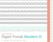 CLIP ART and Photoshop Brushes  - Paper Punch Borders II - for commercial and personal use