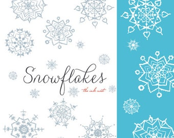 CLIP ART and Photoshop Brushes - Snowflakes - for commercial and personal use