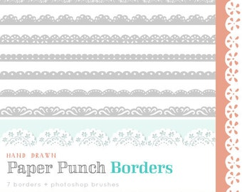 CLIP ART and Photoshop Brushes  - Paper Punch Borders - for commercial and personal use