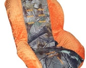Items similar to Hunting Camo & Orange Minky Toddler Cover ...