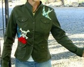 Pretty Pirate Upcycled Military Style Coat-Size M