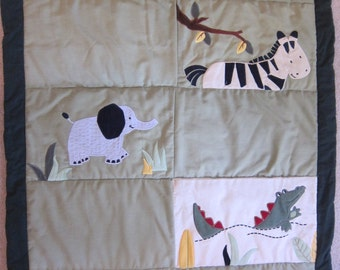Jungle Animals Green Border (Baby Quilt)-QuiltsbyShirley