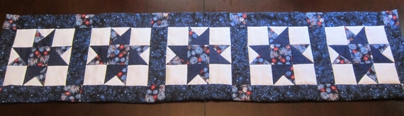 Fireworks in Blue Table Runner- QuiltsbyShirley