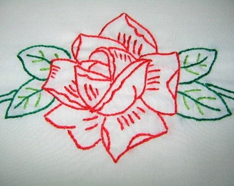 1 queen size embroidered, pillow case, flower motif