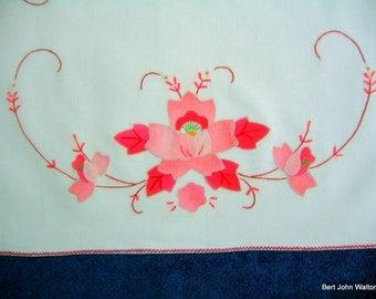 vintage applique & embroidery  linen set