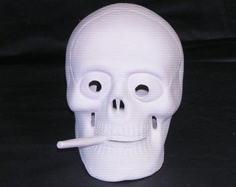 Ceramic Bisque Ready-to-Paint Skull With A Smoke In His Mouth  Luminary