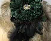Womens Headband Fascinator - Feathered with Kelly Green, Gold, Black Styling
