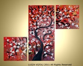Cherry Tree at Sunset Original Landscape Gold Silver Red Triptych Painting by Luiza Vizoli