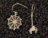 SALE PATIENCE SPIDER AND WEB SILVER EARRINGS
