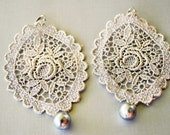 Metallic Silver Filigree Lace Applique Earrings with Silver Pearl Drop