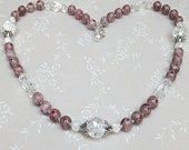 Dusty Rose Millefiori Venetian beaded necklace with Czech crackle glass and flowery silver bead cap accents