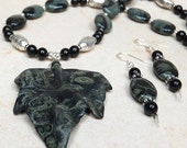 Kambaba Jasper carved leaf pendant necklace earrings set with black Onyx and silvered pewter accent beads. Crocodile Rock.