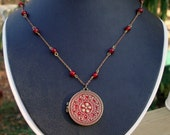 Vintage red brass necklace and locket