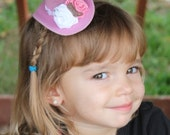 Cowgirl Pink Mini Hat Feather Rhinestone Girls Hair Accessories