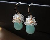 SALE - Aubree Earrings, Aqua Teardrop Earrings