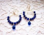 Eleanor Earrings, Royal Blue Wire Wrapped Earrings, Deep Royal Blue