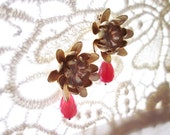 Claire Earrings, Gold Dahlia Earrings with Ruby Pink Teardrops, botanical earring posts, flower earring posts