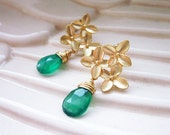 SALE - Ava Earrings, Emerald Green Dangle Earring posts with Gold Floral Clusters, flower earring posts, botanical earrings
