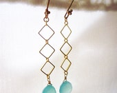 Ella Earrings, Gold Geometric Squares and Sea Blue Chalcedony Briolette Dangle Earrings, simple geometric shape
