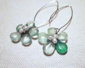 Sadie Earrings, Gemstone Flower Earrings, Teal Turquoise Mint Green Gemstone Dangle Earrings, Wedding, Bridesmaid