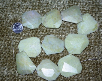 10 Crazy Huge Faceted Light Green Stone Beads