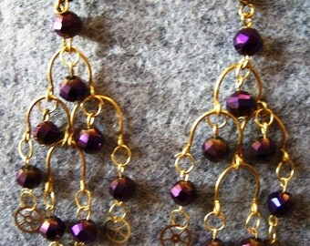 SteampunkI Inspired Gold & Purple Crystal Chandelier  Earrings