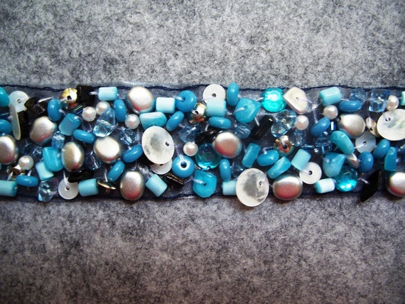 Blue, Shell, Silver & Black Fusible Beaded Trim