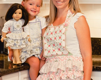 Ruffle Apron pattern set (Adult, Child and Doll) Sewing patterns and Tutorial