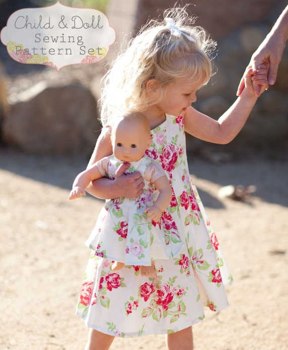 INSTANT DOWNLOAD- Gia Child and Doll Pleated Dress PDF Sewing Pattern set and Tutorial