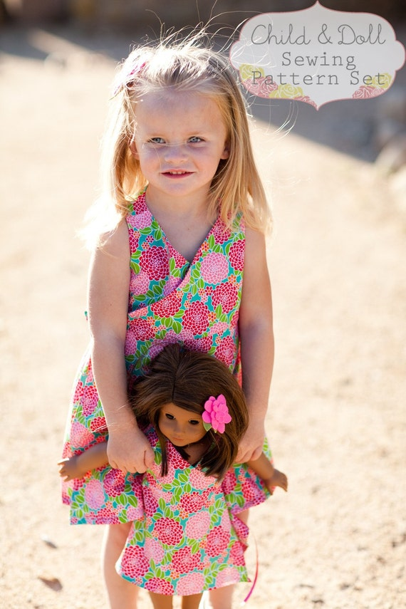 INSTANT DOWNLOAD- Kate Wrap Around Dress Child and Doll PDF Sewing Pattern set and Tutorial
