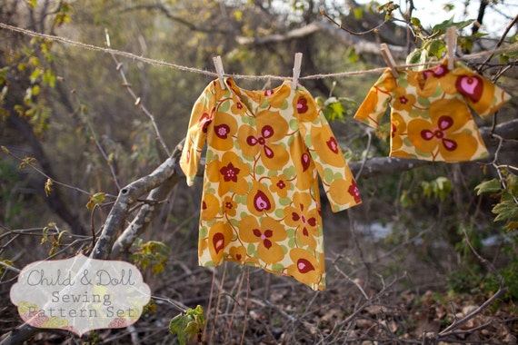 INSTANT DOWNLOAD- Sophia Child and Doll Tunic PDF Sewing Pattern set and Tutorial