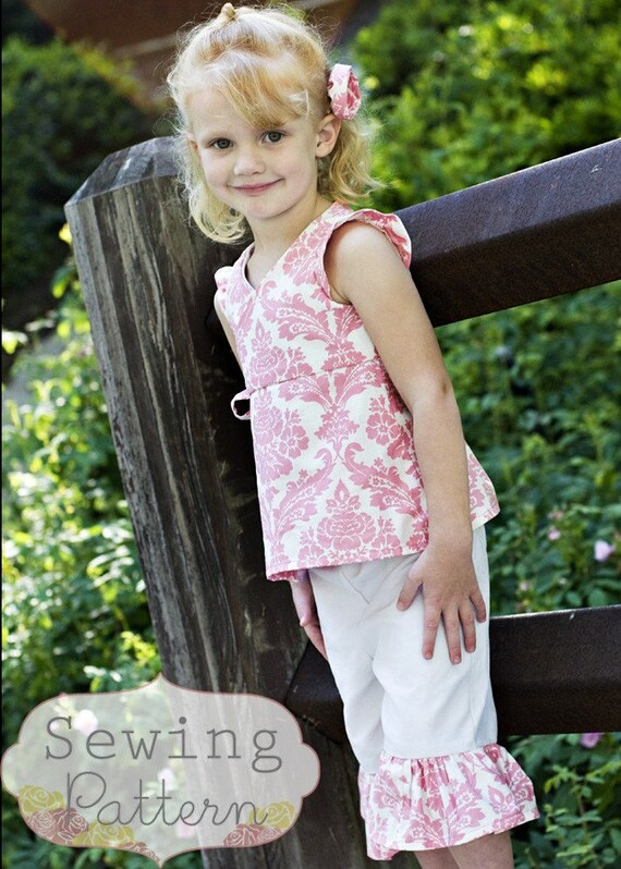 INSTANT DOWNLOAD- Izzy Ruffle Capri Pants Set (Size 6 to 9 months to 6) PDF Sewing Pattern and Tutorial