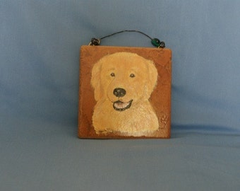 Hand painted Italian tile - Golden Retriever
