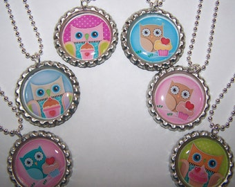 Girls Owl Party Favors / Cupcake Party Owls Bottle Cap Necklaces / Girls Birthday Party Favors