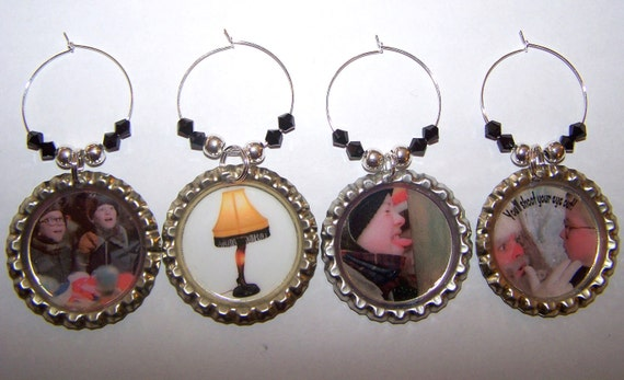 Bottle Cap Wine Glass Charms A Christmas Story Favorite Movie Scenes