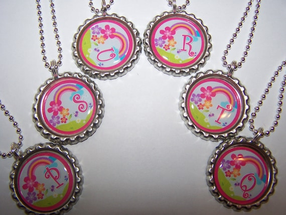 Personalized Initial Rainbow Party Favors / Rainbow Bottle Cap Necklaces / Girls Party Favors