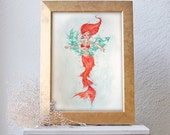 CLEARANCE Fantasy Red Head Mermaid Under the Sea Watercolor Painting 11x15- WAS 35