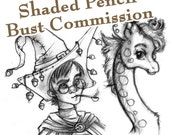 COMMISSION: Shaded Pencil Drawing - 1 Character Bust - Custom Art, Commissioned Art, Tattoo Design
