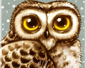 Winter Owl Big Eyes Art Print