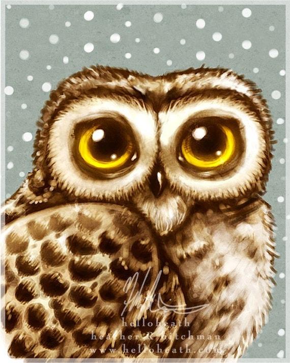 Winter Owl Big Eyes, Digital Art Print