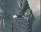 UNUSUAL POSE Woman with Interesting Dress and SASH Photo Postcard Sioux City Iowa circa 1910