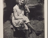 Big Loose HAIR Curl Rolls and KNEE HIGH Stockings High Fashion Funny Photo Circa 1930s