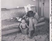 BABY BATHING in a BUCKET In the Middle of The Family Living Room Photo 1958