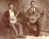 Handsome Young Men BANJO and GUITAR PLAYERS Cabinet Photo Circa 1890