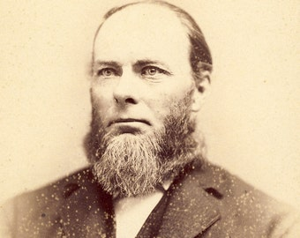 STOIC STERN STEELY Gaze Character Study of Whitewater Wisconsin Man Cabinet Photo Circa 1890